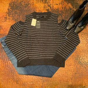 NWT Lucky Brand Black Stripe Cold Shoulder Sweater